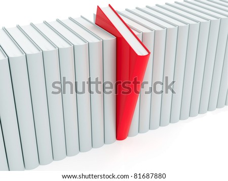 Red book within white ones rendered with soft shadows on white background - stock photo