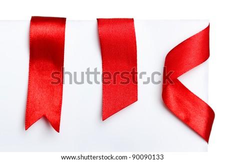Red bookmark ribbons set - stock photo