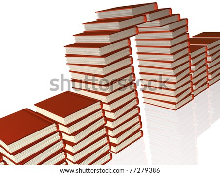 Red books as a gate, white reflective background.