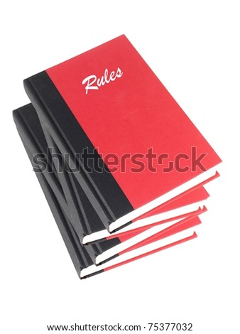 Red books isolated against a white background - stock photo