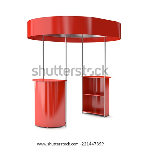 red booth or kiosk isolated on white. 3d render - stock photo
