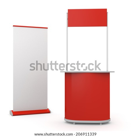 red booth or kiosk with rollup isolated on white. 3d render - stock photo