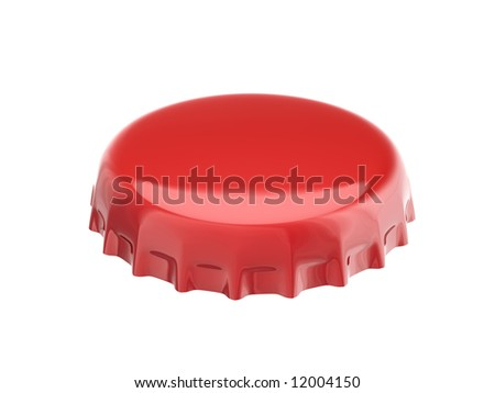 red bottle cap isolated on white - stock photo