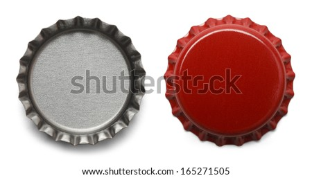 Red Bottle Caps Isolated on White Background. - stock photo