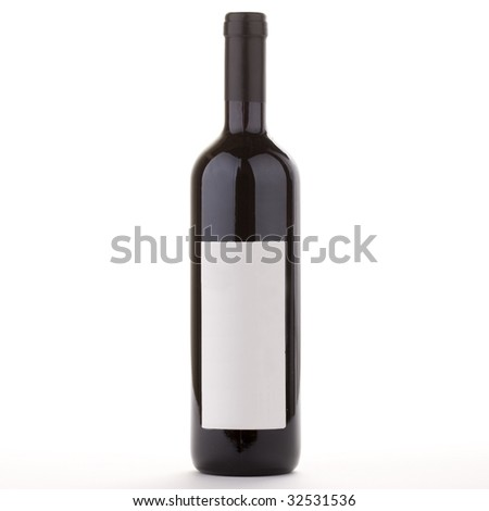 Red bottle of Bordeaux wine with empty label and space for your text or artwork - stock photo