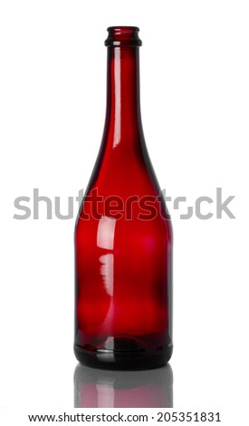 Red bottle on a reflective surface with white background