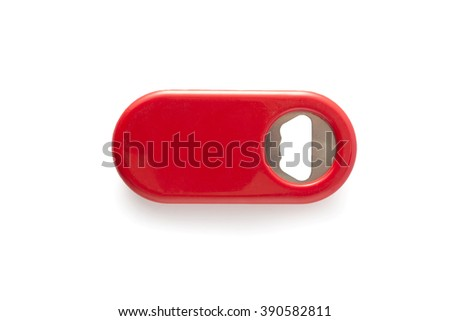 Red bottle opener on isolated white background