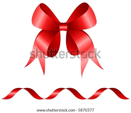 Red bow and curly ribbon isolated on white background 	 - stock photo