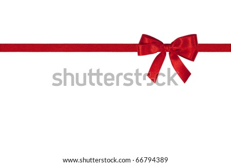 Red bow and horizontal ribbon on white. - stock photo