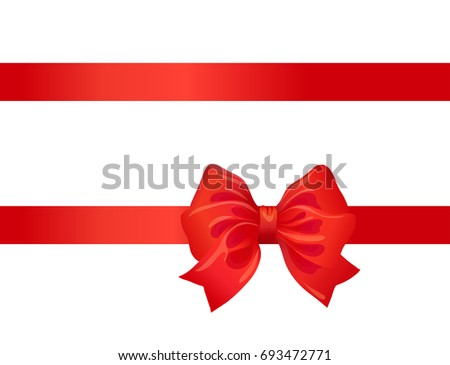 red bow and ribbon on white. decorative design element for celebration greeting and invitation cards. raster