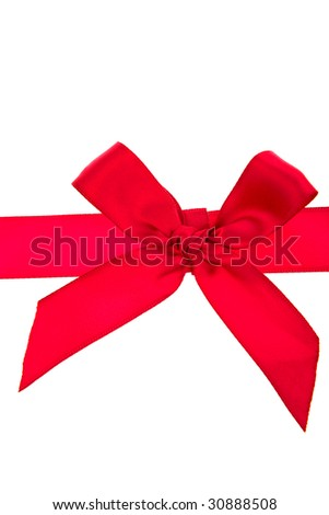 Red bow and ribbon over white