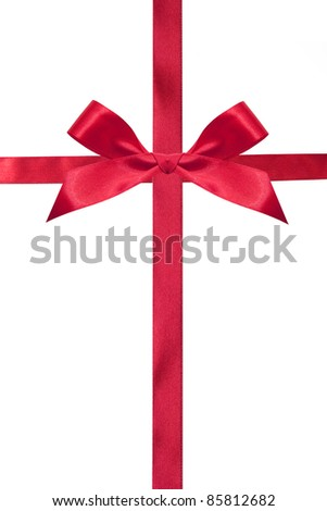 Red bow and ribbons isolated on a white - stock photo