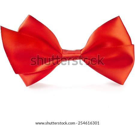 Red bow close up on white isolated on white background - stock photo