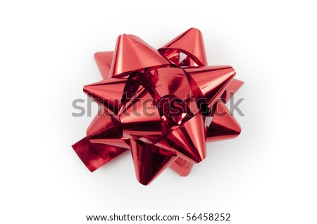 Red bow for gift or a present, isolated on white - stock photo