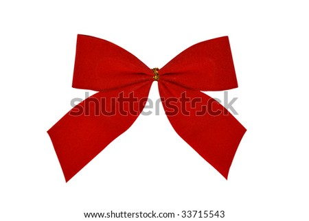 red bow for gifts. Clipping path available