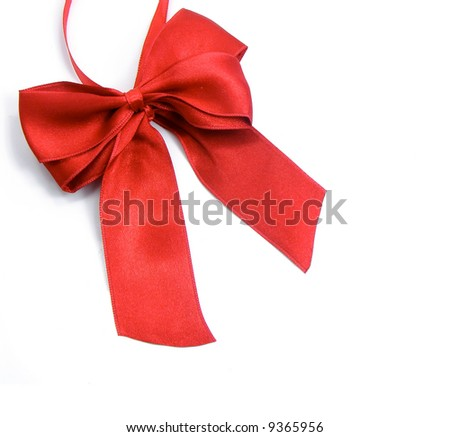 red bow for greeting gift decoration isolated over white background