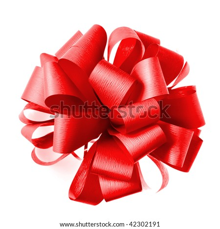 Red bow from ribbon isolated on white