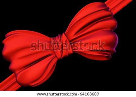 Red bow isolated on black background inclluding clipping path.