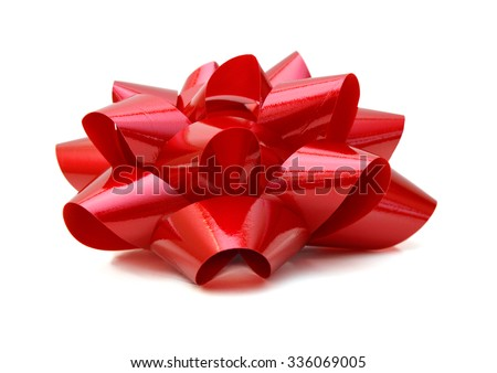 Red bow - isolated on white background  - stock photo