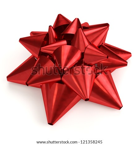 Red bow isolated on white background. Computer generated image with clipping path.