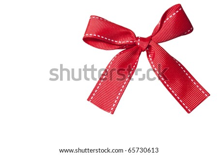 Red bow isolated on white background with space for text