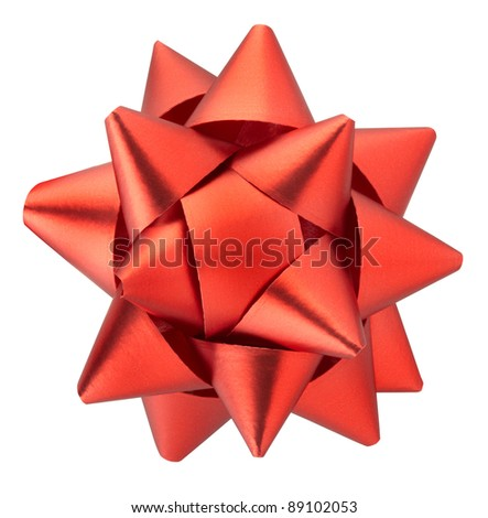 Red bow isolated on white clipping path included