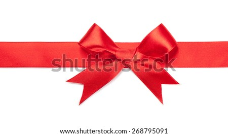 Red bow isolated on white. gift concept