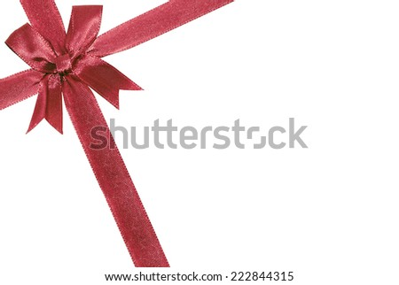red bow isolated over white. Decoration for a gift