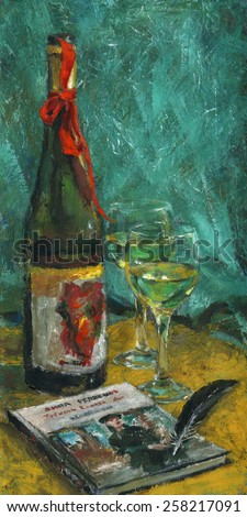 Red bow-knot. Red ribbon tied around a bottle of wine, wineglasses, a book and a black feather on the table. Still life. Gouache (tempera) on cardboard.