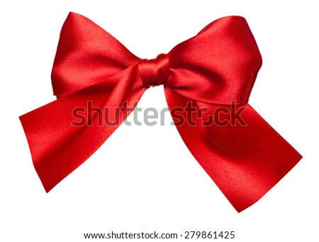 red bow made from silk isolated - stock photo