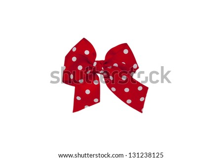 red bow made of ribbon isolated on white background - stock photo