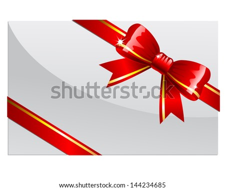Red bow on a white card or envelop. Raster version. Vector is also available in my gallery - stock photo