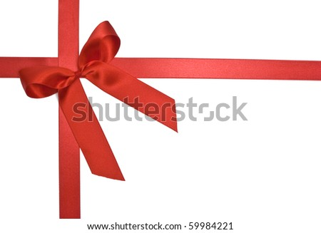 Red Bow on white - stock photo