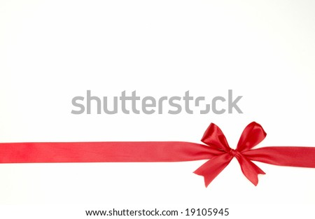 red bow on white background - stock photo