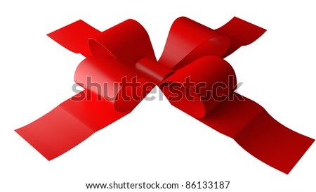 Red Bow on wite background