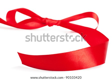 Red bow, red silk ribbon over white background - stock photo