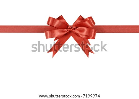 Red bow, ribbon, horizontal, isolated on white background