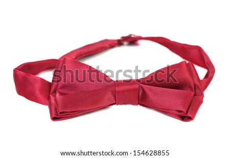 Red bow tie isolated on a white background. - stock photo