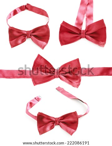 Red bow tie isolated over the white background, set of four foreshortenings - stock photo