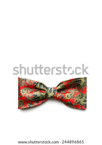 Red bow-tie on white  - stock photo