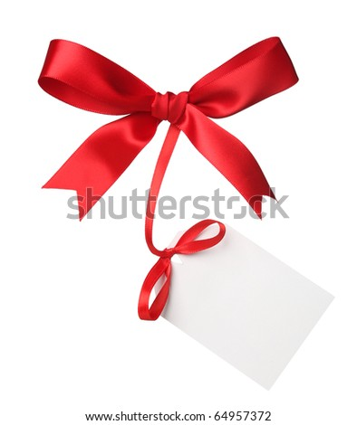 Red bow with blank label - stock photo