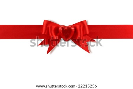 Red bow with heart isolated on white background