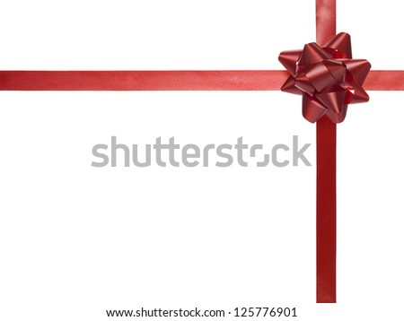 Red bow with satin ribbon inside of white background - stock photo