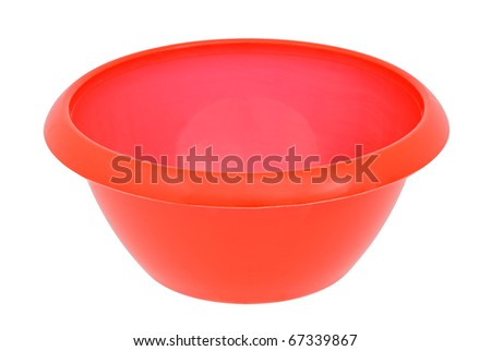 Red bowl on the white background - stock photo