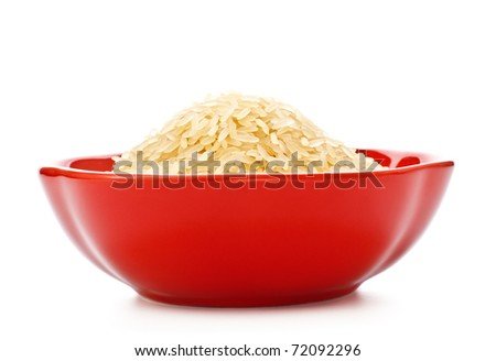 red bowl with rice isolated on white - stock photo