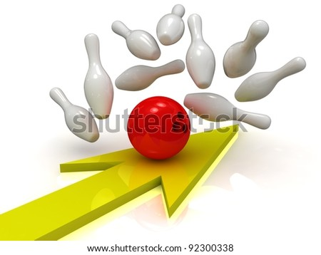 Red bowling ball crashing into skittles with arrow