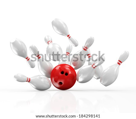 Red Bowling Ball crashing into the Pins isolated on white background - stock photo