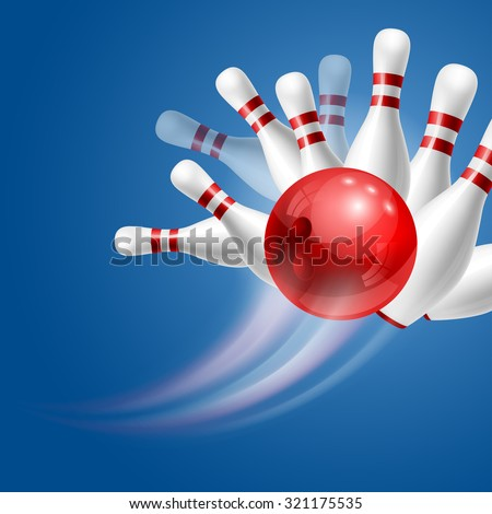 Red bowling ball crashing into the white glossy skittles. Illustration on sport bowling theme. - stock photo