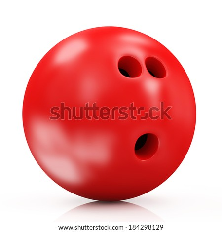 Red Bowling Ball isolated on white background - stock photo