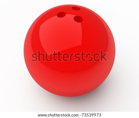 red bowling ball isolated over white - stock photo